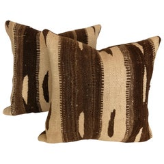 Pair of Custom Pillows cut from a Vintage Wool Moroccan Rug, Atlas Mountains