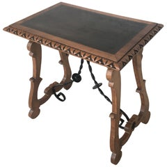 19th Century Baroque Spanish Side Table with Ebonized Top and Lyre Legs