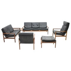 Scandinavian Living Room Set 1970s with 2 Sofas, 2 Lounge Chairs and a Stool