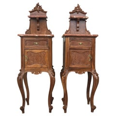Tall and High Top Solid Oak Bedside Cabinets with Marble Top and Drawer