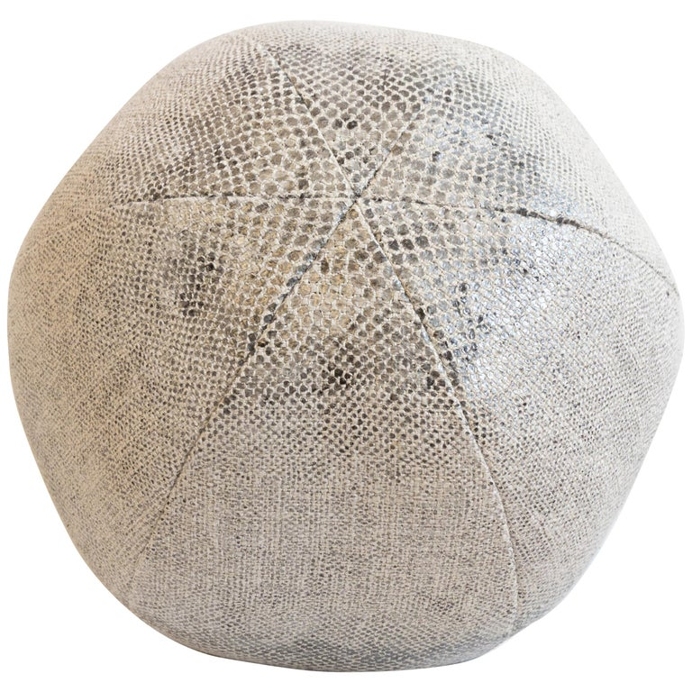 Round Throw Pillow Ball in Snake Skin Linen For Sale