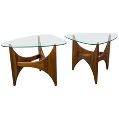Pair of Walnut and Glass Coffee Tables by Adrian Pearsall