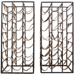 Pair of Iron and Leather Wine Racks by Arthur Umanoff, 1950s