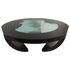 Charles Pace Black Lacquer Etched/Engraved Glass Top Custom Coffee Table