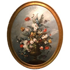 18th Century Large Oval Painting with Flowers