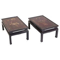 Early 20th Century Chinese Lacquered Panel Tables, a Pair