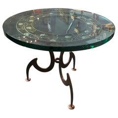 Italian Circular Wrought Iron Side Table