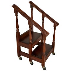 English Regency Style Mahogany and Leather Rolling Library Steps