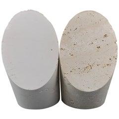 Fratelli Mannelli Marble Bookend Post Modern Vero Travertine Brutalist Sculpture
