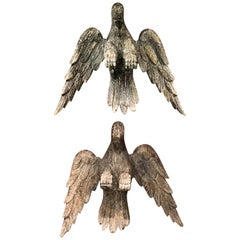 Pair of 18th Century Continental Carved Wooden Eagles