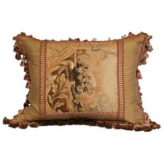 Handmade French Pillow with 19th Century Aubusson Verdure Tapestry Fragment