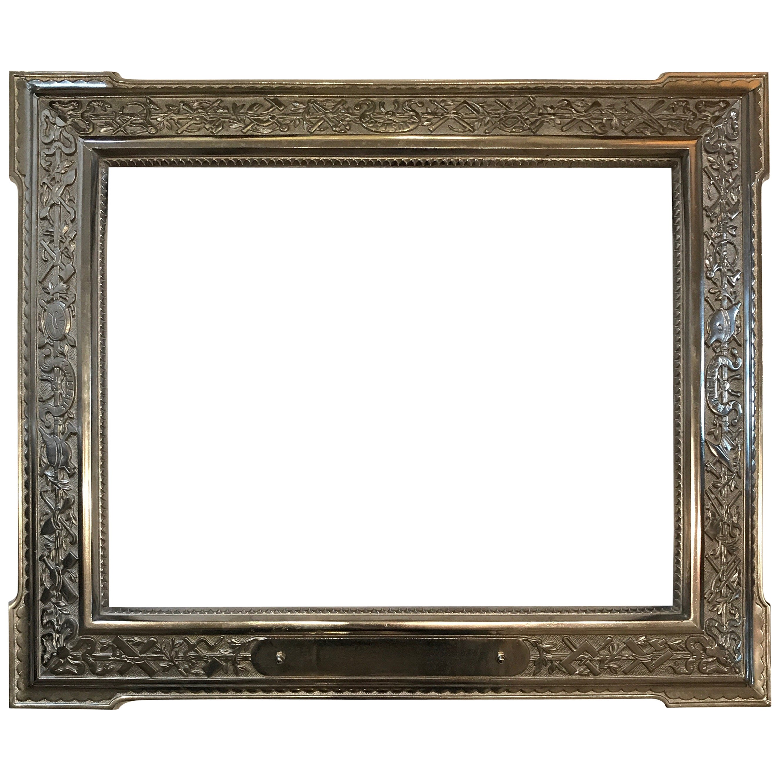 French 19th Century Nickle Foundry Picture Frame