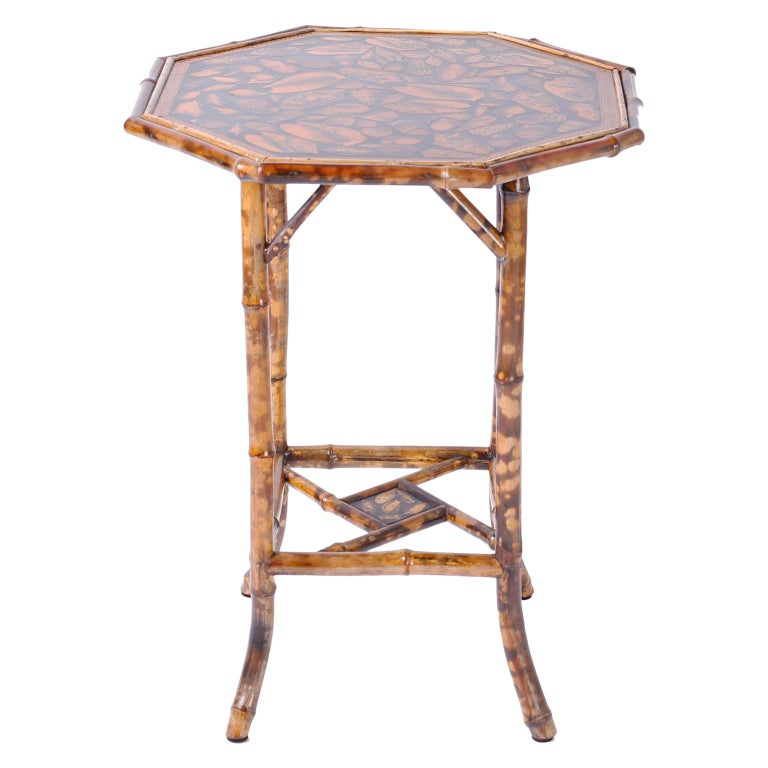 Antique English Bamboo Table with Seashell Decoupage For Sale