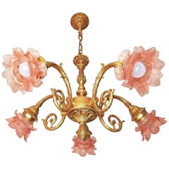 Art Nouveau Louis XV Ornate Gilt Bronze and Pink Art Glass Flower Chandelier