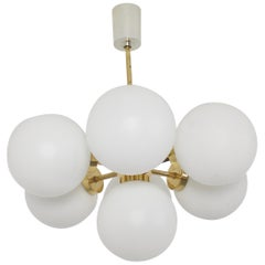 1 of 2 Sputnik Chandelier with Opaline Glass Globes, Germany, 1970s