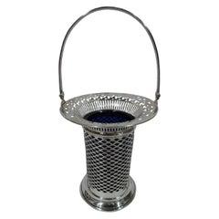 American Edwardian Pierced Sterling Silver Basket by Meriden Britannia