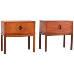 Pair of Teak Mid-Century Modern Bedside Tables No 384 by Aksel Kjersgaard, 1950s