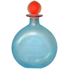 Venetian Blue Murano Art Glass Decanter, Vessel with Red Stopper, Italy