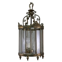 Italian Beveled Glass and Bronze Lantern