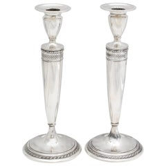 Tall Pair of Art Deco Sterling Silver Candlesticks