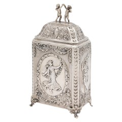 Victorian Continental Silver .800 Hannau Footed Tea Caddy