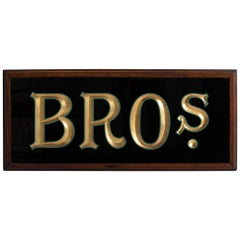 Reverse Painted Bros Sign, circa 1950