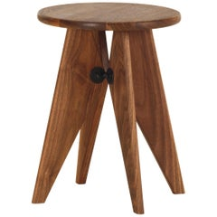 Vitra Tabouret Solvay Stool in American Walnut by Jean Prouvé