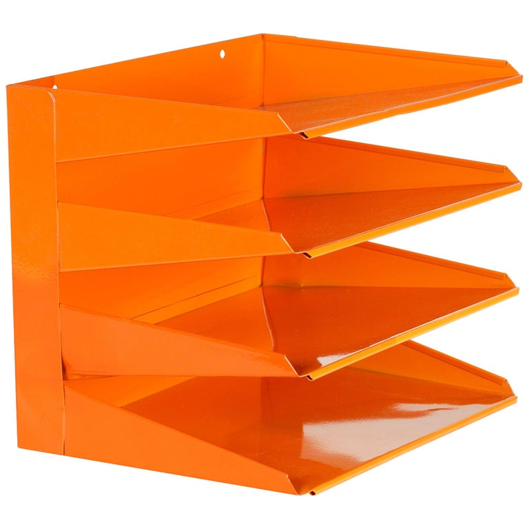 Retro Office File Organizer, Refinished in Tangerine
