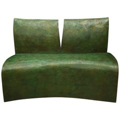 Modern Style Patinated Bronze Bench, Signed