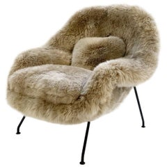 Vintage Eero Saarinen Womb Chair Restored in New Zealand Sheepskin