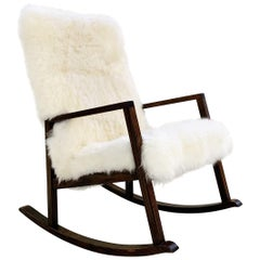 Vintage Harvey Probber Rocking Chair Restored in Brazilian Sheepskin
