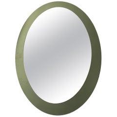 Midcentury Italian Green Oval Mirror Framed Mirror