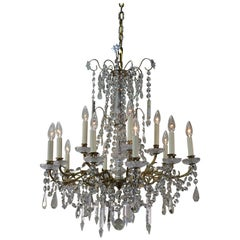 French 19th Century Fifteen-Light Crystal and Bronze Chandelier