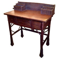 Vintage Natural Wicker Desk