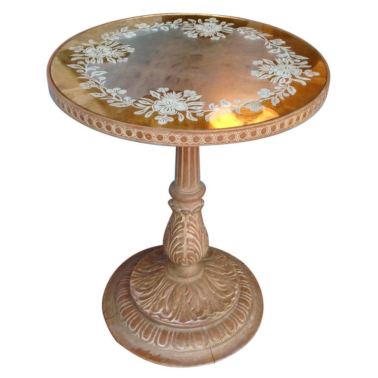 Chic 1940s Reverse Painted Table For Sale