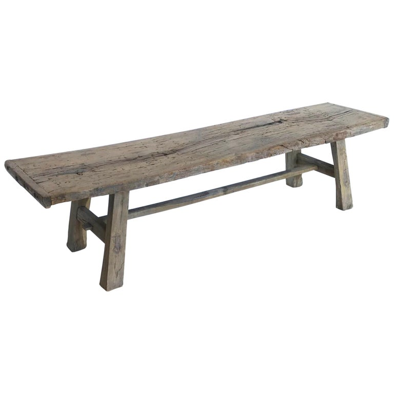Rustic Elm Wood Bench