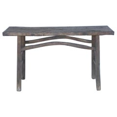 Rustic Elm Wood Console / Altar Table with Curved Stretchers