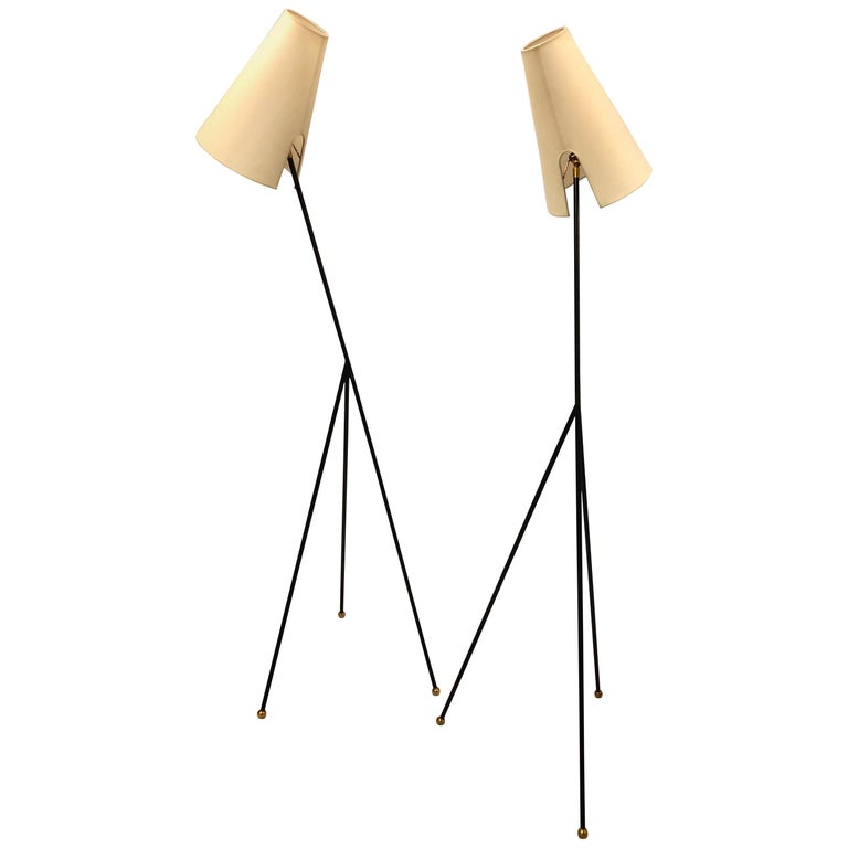 Pair of French Mid-Century Modern Wrought Iron Floor Lamps Attributed Disderot For Sale