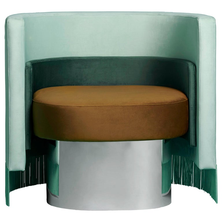 Mambo Green Armchair with Upholstery Velvet, Solid Wood and Metal Structure 1