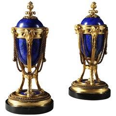 Pair of French Napoleon III Blue Lapis Lazuli and Gold Ormolu Cassolettes