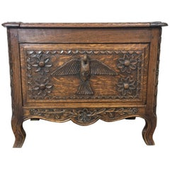 19th Century Norman Swan Chest in Carved Oak