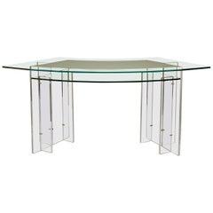 1970s French Resin and Glass Desk Le Invisibles de Marais