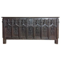 Important Gothic Oak Chest, 16th and 19th Century