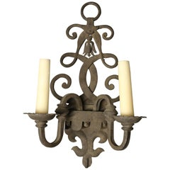 Pair of Scroll Design Two-Light Wrought Iron Spanish-Style Sconces