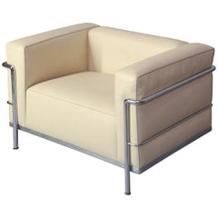 """Le Corbusier LC2 """"Petit Modele Arm Chair"""" Upholstered in Faux White Leather"""
