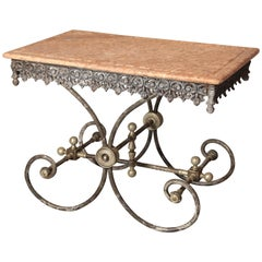 French Metal Pastry Table with Decorative Apron and Marble Top