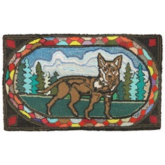 American Hooked Pictorial Dog Rug