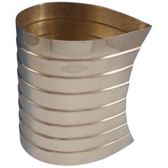 Pampaloni Italian Sterling Silver Wine Cooler Ribbed with Leaf Design