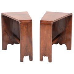 Pair of Asymmetrical Deco Side Tables