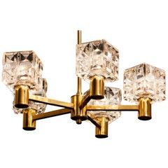 1950s, Brass and Glass Chandelier by Tyringe Konsthantverk, Sweden